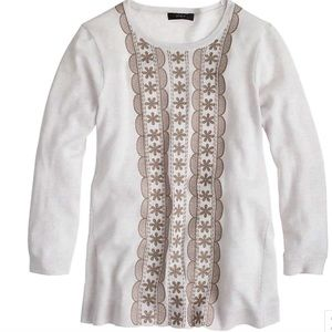 J. Crew Embroidered Merino Wool Sweater